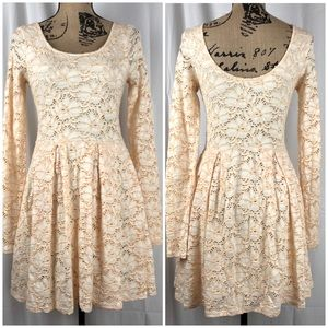 Free People Floral Lace Overlay Peach Long Sleeve